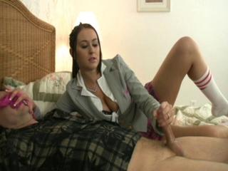 roleplay schoolgirl gives panty sniffer handjob