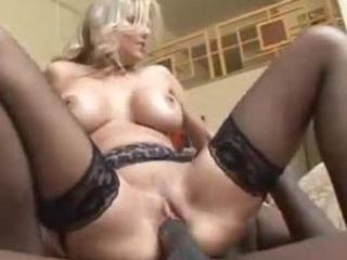 sexy wife in black stockings fucks black cock