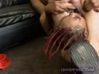 Black girl painful gangbang