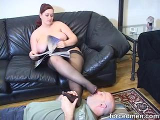 sexy milf in red nylons fucked on sofa