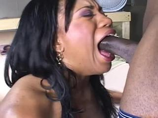 Ebony girl gives head and nails black sausage