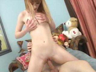 petite girl rides a big dick
